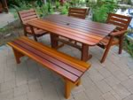 "60"" Bench with large rectangular pedestal patio table and standard club chairs"