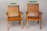 Dining Club Patio Chairs - Regular and High Back comparison