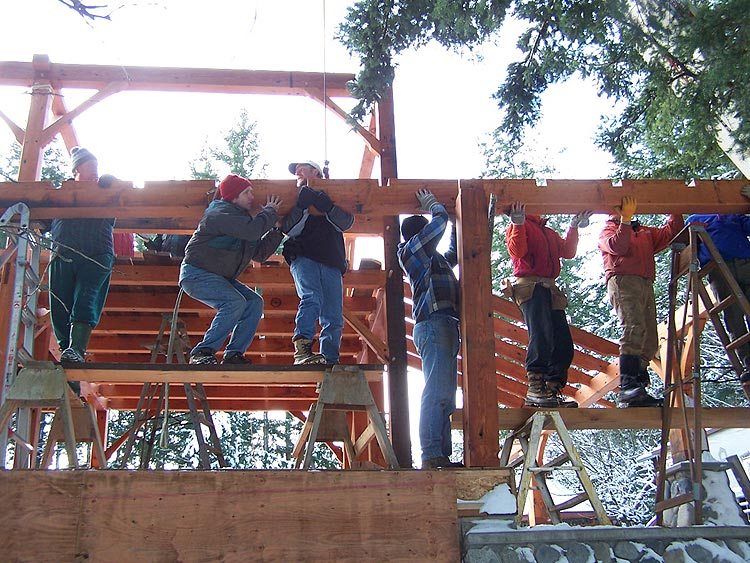placing the porch beam