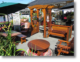 classic cedar patio furniture and arbour